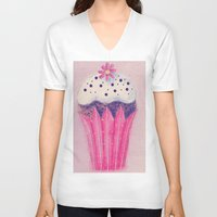 cupcake V-neck T-shirts featuring Cupcake by Irène Sneddon