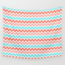 Coral Peach Pink and Aqua Turquoise Blue Chevron Wall Tapestry