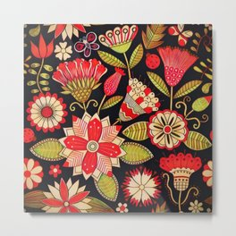 Blooms Butterflies and Ladybugs Metal Print
