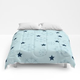 Snowflakes and stars - light blue Comforters