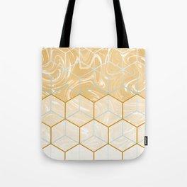 Geometric Effect Caramel Marble Design Tote Bag