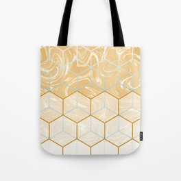 Geometric Effect Caramel Marble Design Tote Bag