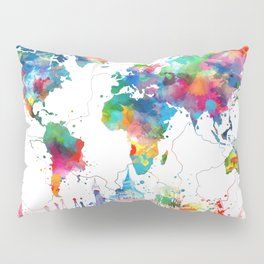 world map watercolor collage Pillow Sham