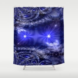 Fractal Blue Nova Shower Curtain