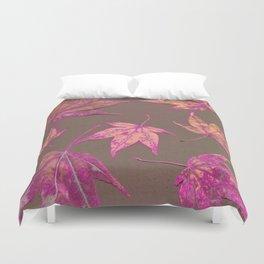 Japanese maple leaves - neon pink on khaki Duvet Cover