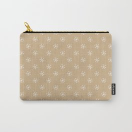 White on Tan Brown Snowflakes Carry-All Pouch