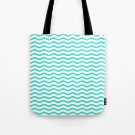 Turquoise and White Chevron Wave Tote Bag