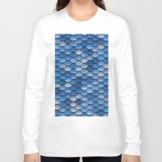 Blue sparkling glitter mermaid scales - Mermaidscales Long Sleeve T-shirt