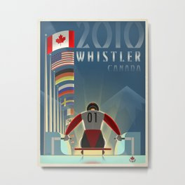 "Minimalist Whistler ""Olympic Luge"" Travel Poster Metal Print"