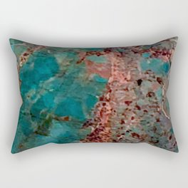 Marble Turquoise Blue Rectangular Pillow