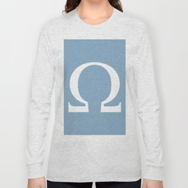 Greek letter Omega sign on placid blue background Long Sleeve T-shirt