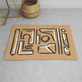 Black and white on Kraft paper earth texture Rug