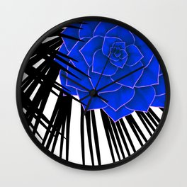 Big Bold Indigo Echeveria Illustration Wall Clock