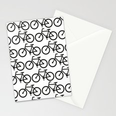 Bicycle Stamp Pattern - Black and White - Fixie Fixed Gear Bike Stationery Cards