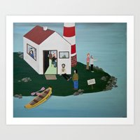 lighthouse Art Prints featuring Lighthouse by Angela Dalinger