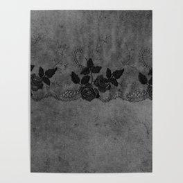 Pure elegance- Black floral luxury lace on dark grunge backround Poster