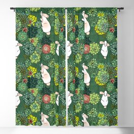 Rabbits in a Succulent Garden Blackout Curtain