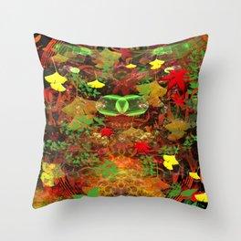 Autumn Leaf Droppings Throw Pillow