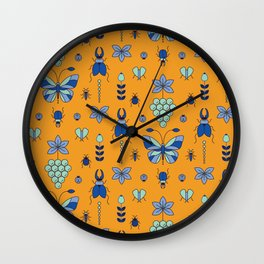 Insectarium Pattern Wall Clock