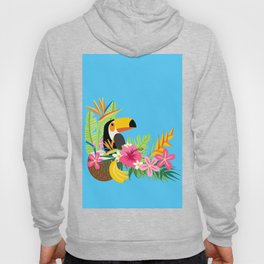 Tropical Toucan Island Coconut Flowers Fruit Blue Background Hoody