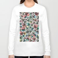 skulls Long Sleeve T-shirts featuring Skulls by Devin McGrath