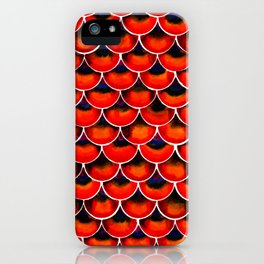 Red seigaiha Japanese wave Dragon scales pattern iPhone Case