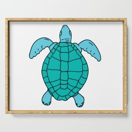 Sea Turtle Swimming Drawing Serving Tray