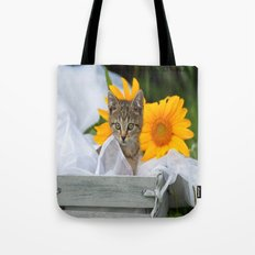 Sweet Tiger with sunflowers Tote Bag