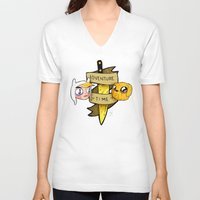 finn and jake V-neck T-shirts featuring Finn and Jake by Nate Galbraith