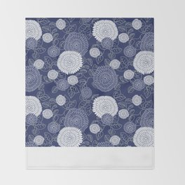 Indigo Chrysanthemums Throw Blanket