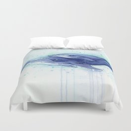 Humpback Whale Watercolor Mom and Baby Painting Whales Sea Creatures Duvet Cover
