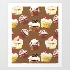Cup cakes patterns Art Print