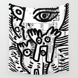 Creatures Graffiti Black and White on French Train Ticket Wall Tapestry