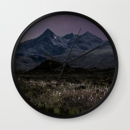 Mountains of Scotland at evening Wall Clock