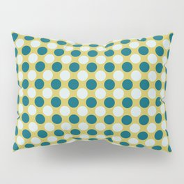 Pale Blue and Tropical Dark Teal Uniform Large Polka Dots on Dark Yellow Inspired by Sherwin Williams 2020 Trending Color Oceanside SW6496 Pillow Sham