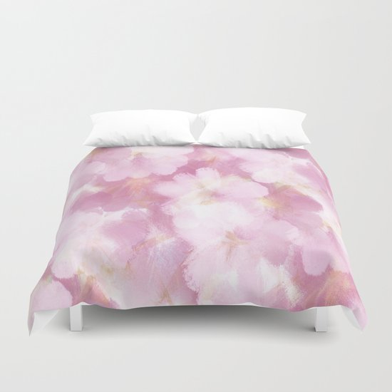 Painted Flowers Abstract Duvet Cover