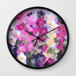 Pink Hollyhocks in My Garden Wall Clock