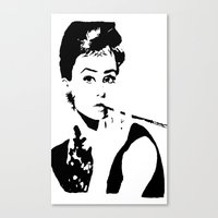 hepburn Canvas Prints featuring Hepburn by annelise h