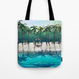 Honeymoon Beach Palm Tote Bag