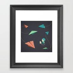Girl Watching Paper Planes Framed Art Print
