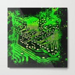 platine board conductor tracks splatter watercolor Metal Print