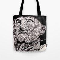 freddy krueger Tote Bags featuring Freddy Krueger by Emz Illustration