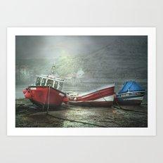 Moonlit boats Art Print