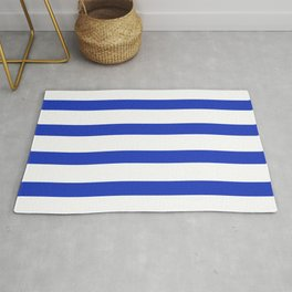 Blue Persian Stripes on White Background Rug