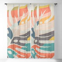 shape leave modern mid century Sheer Curtain