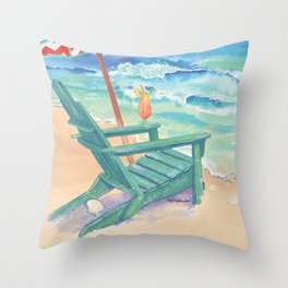 Sun & Sand & a Drink in Hand! Throw Pillow