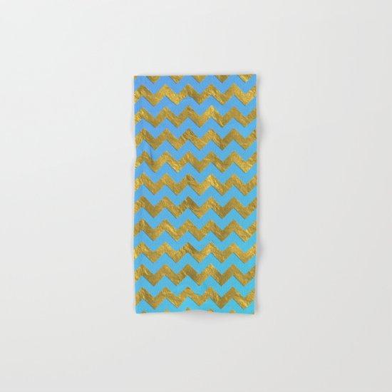 Gold glitter chevron on turquoise backround- pattern Hand & Bath Towel