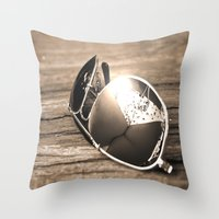 sunglasses Throw Pillows featuring Sunglasses by Cs025
