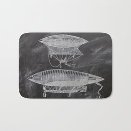 chalkboard art victorian steampunk hot air balloon airship patent print Bath Mat