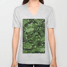 GANGSTA jungle camo / Green camouflage pattern with GANGSTA slogan Unisex V-Neck